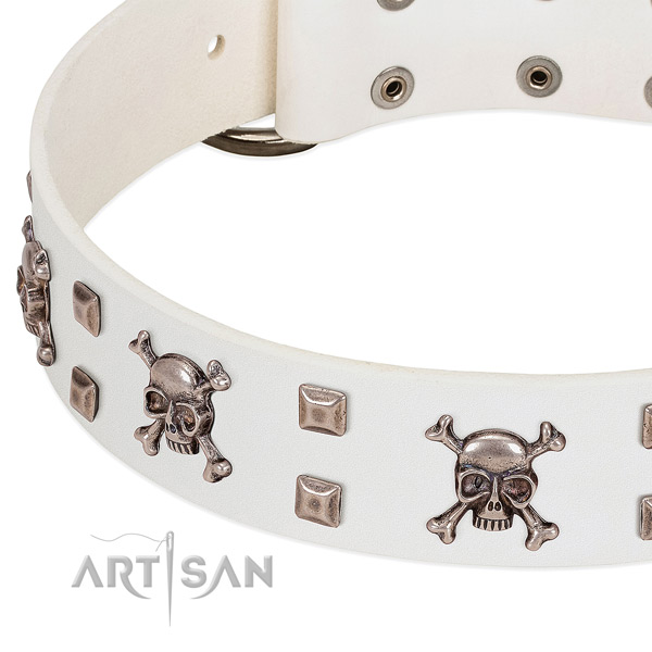 White leather dog collar with exclusive decorations