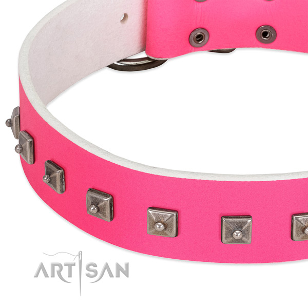 Pink leather dog collar with posh decorations