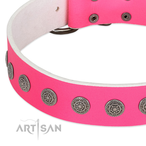 Pink leather dog collar with stunning decorations