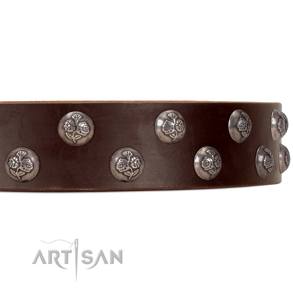 FDT Artisan brown leather dog collar with small studs with flower ornament