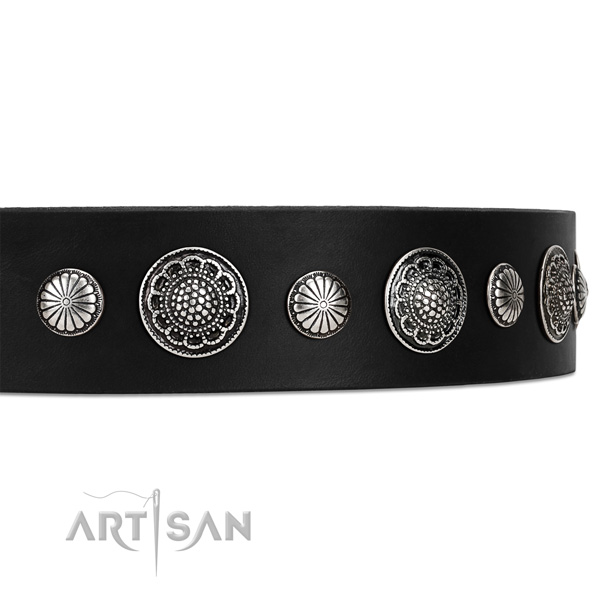 Wide Leather Dog Collar with Shiny Brooches andStuds