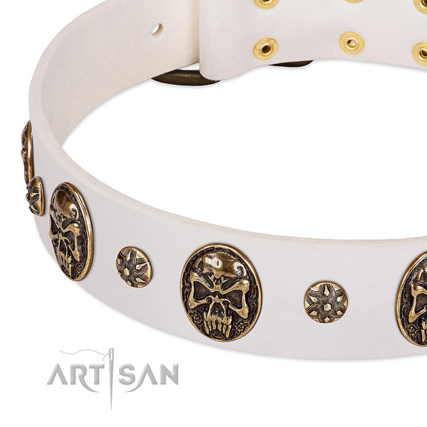 Old bronze-like studs and medallions on white leather FDT Artisan collar