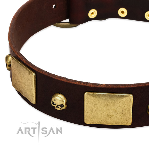 Premium Quality Leather Dog Collar with Handset Skulls