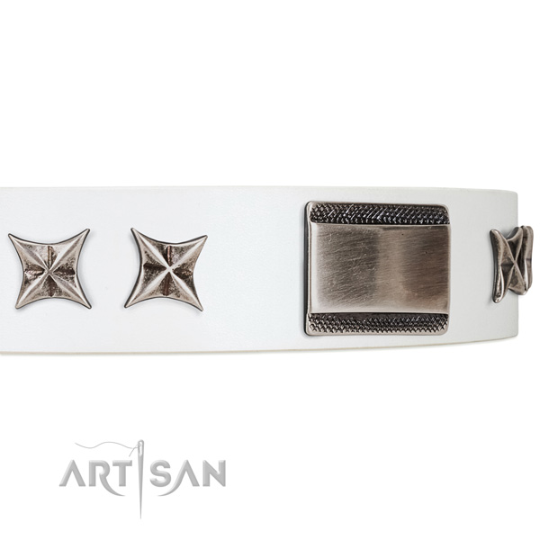 Royal quality white leather dog collar with chrome plated decorations