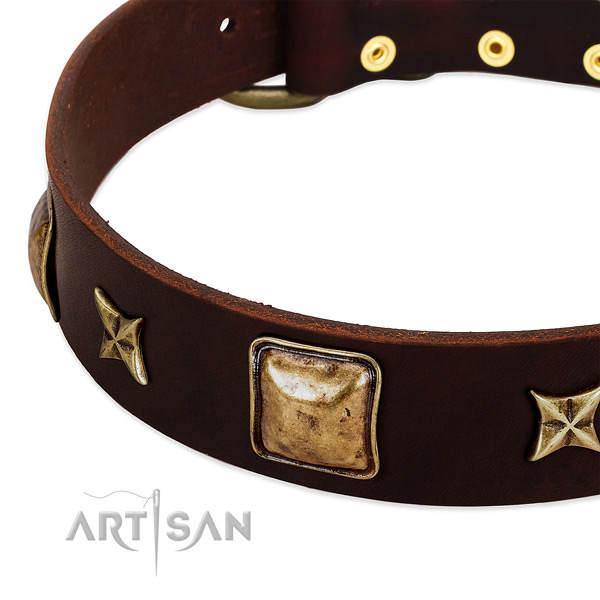 Old bronze-like squares and stars on brown leather FDT