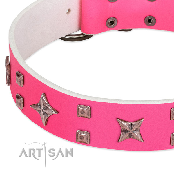 Pink leather dog collar with cool decorations
