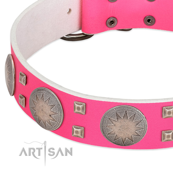 Pink leather dog collar with modern decorations