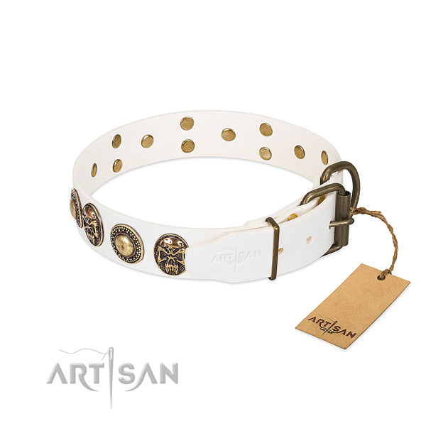 Handmade White Leather Dog Collar with Riveted Fittings