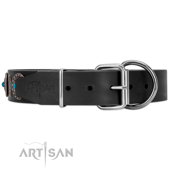Black leather dog collar with rust-resistant buckle and D-ring