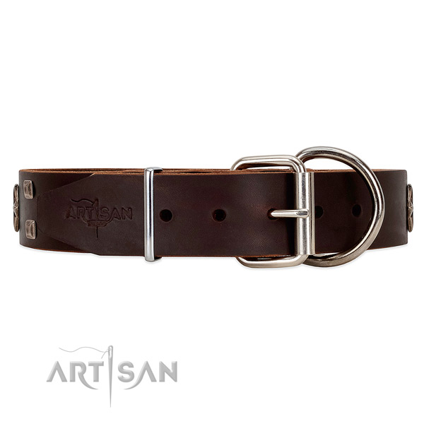 Dependable leather dog collar with belt-like buckle