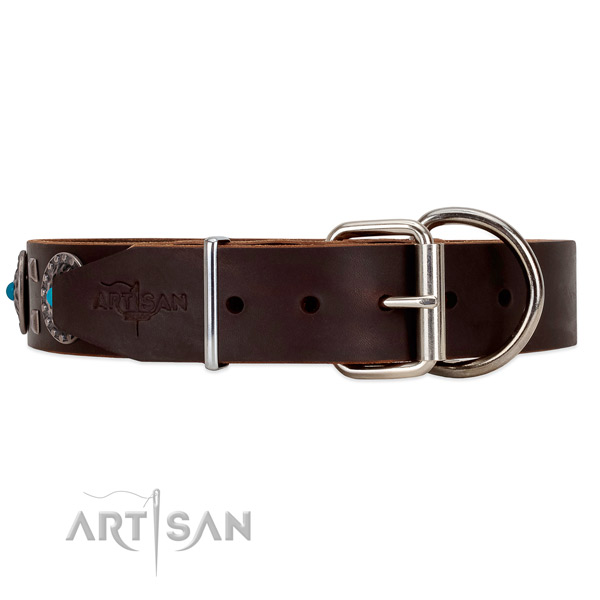 Brown leather dog collar with rust-resistant buckle and D-ring