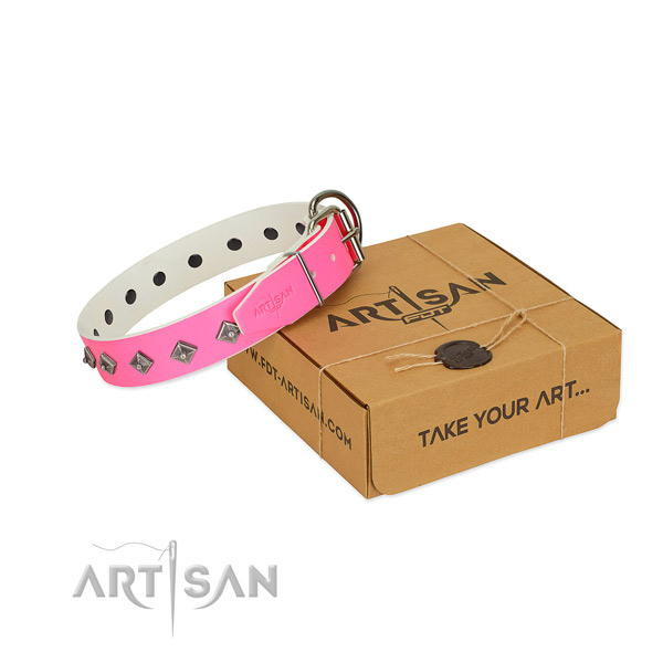 Embellished Pink Leather Dog Collar in Special Gift Box
