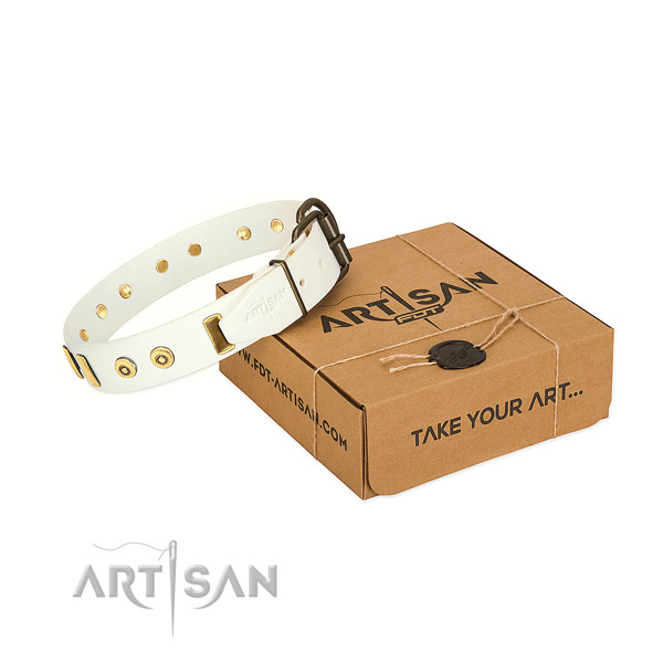 Decorated White Dog Collar Crafted of 100% Genuine Leather
