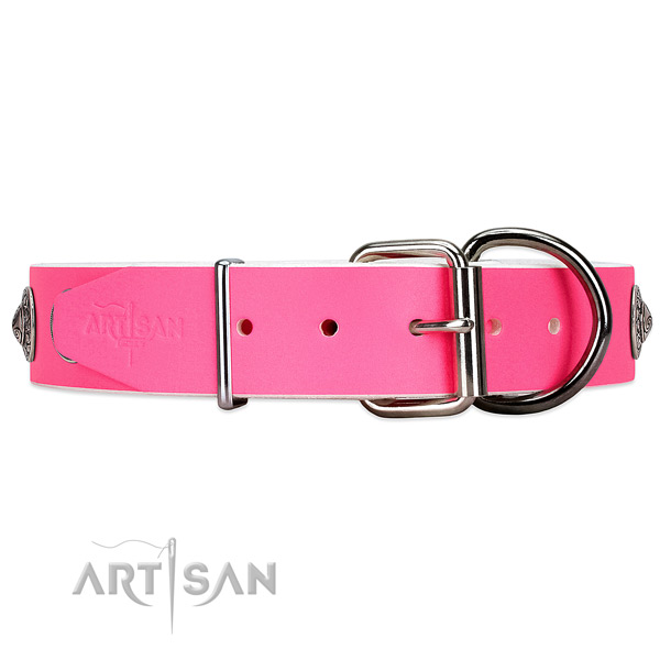 Pink leather dog collar has reliable fastener