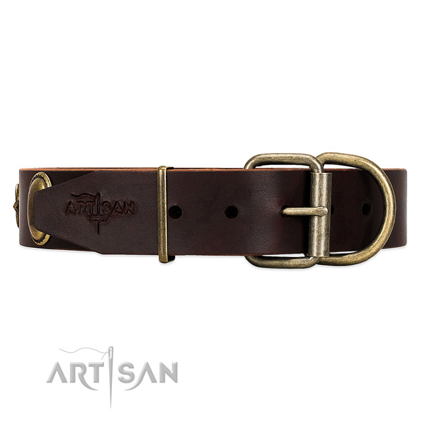 Soft leather dog collar with non-corrosive buckle and D-ring