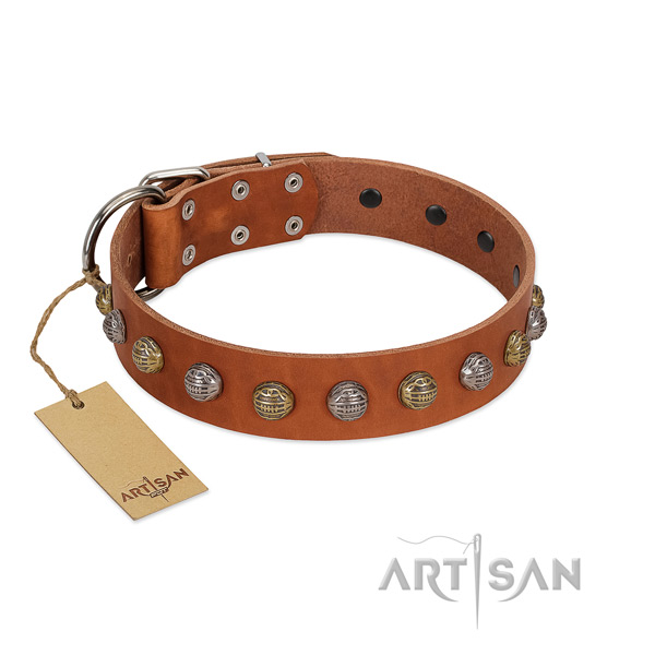 Handcrafted tan leather dog collar with decorations