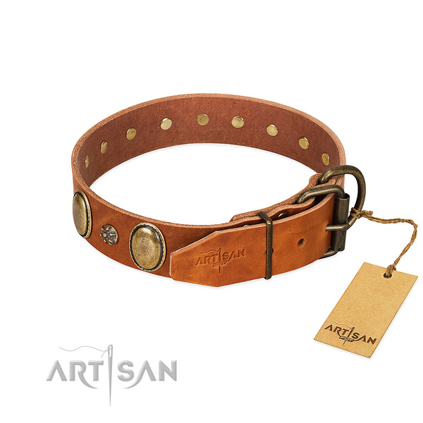 Easy-to-fit Dog Collar of Selected Genuine Leather