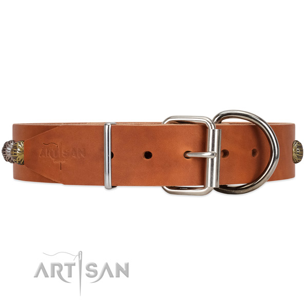 Riveted full grain leather dog collar with buckle and D-ring
