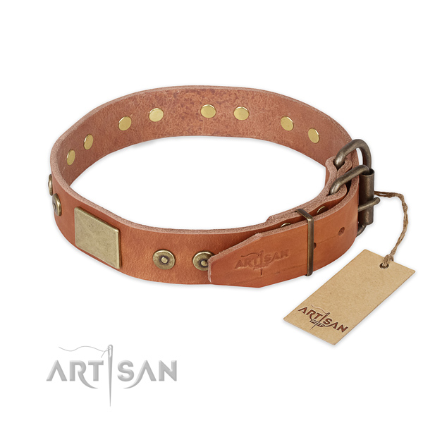 Tan leather dog collar with old bronze-like plated fittings