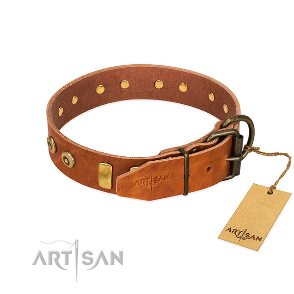 Time-proof leather dog collar equipped with sturdy hardware