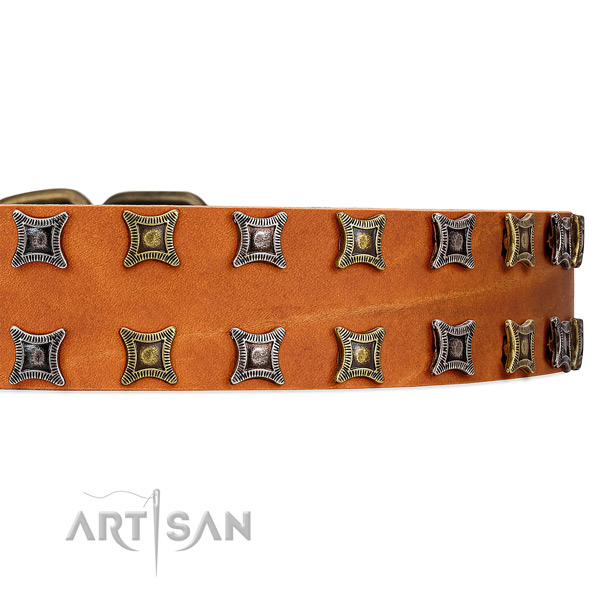 Amazing tan leather collar with two rows of gorgeous