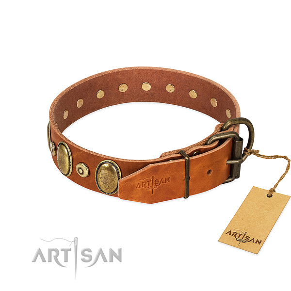 Bronze-Like Plated Medallions and Studs on Tan Leather