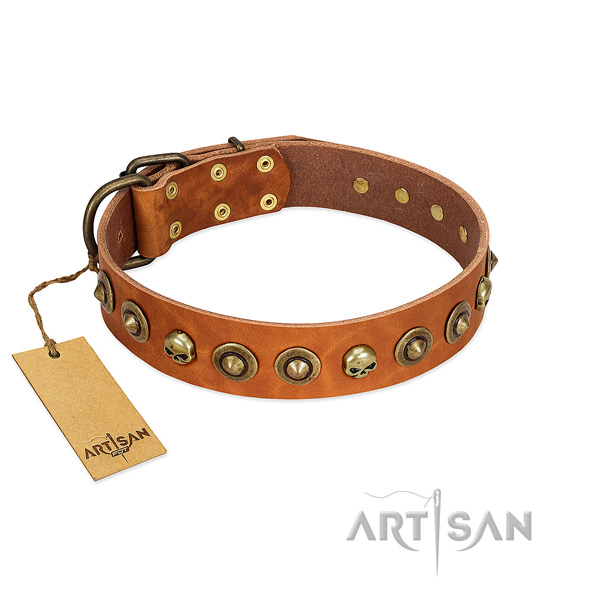 Excellent quality Artisan tan leather dog collar