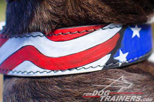 USA Flag Painting on Leather Pitbull Collar