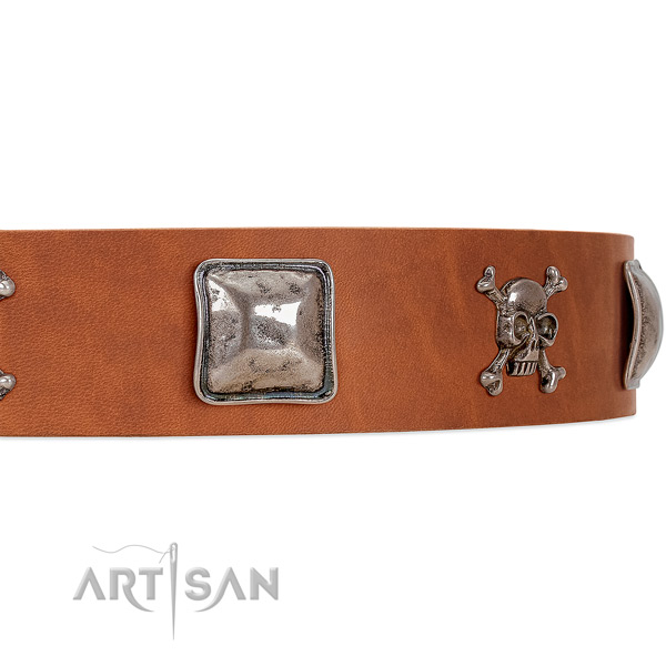 Tan Dog Collar with Old-bronze Plated Decorations