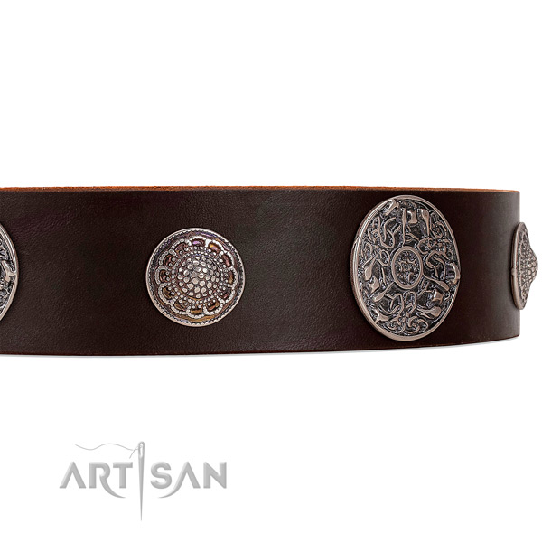 Brown leather dog collar with riveted ornate brooches
