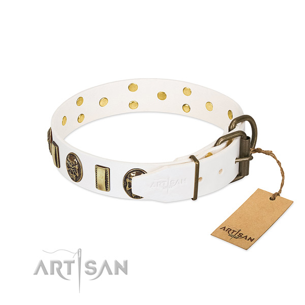 Easy to Adjust Leather Dog Collar with Strong Buckle