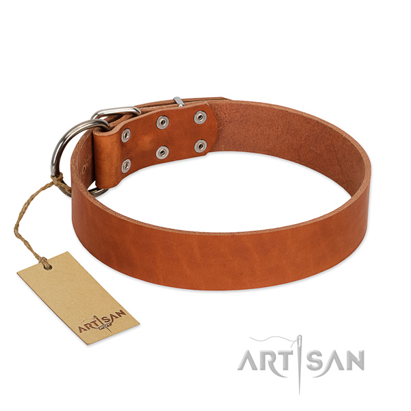 extra Comfortable Tan Leather Dog Collar
