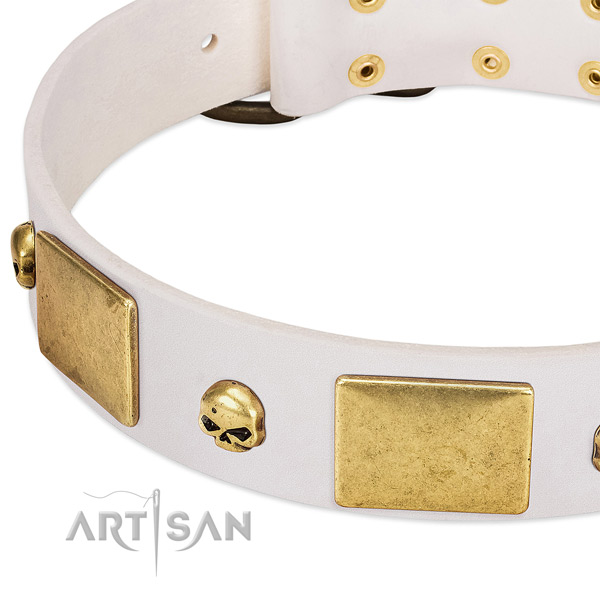 Chic Style White Leather Dog Collar Adorned with Skulls