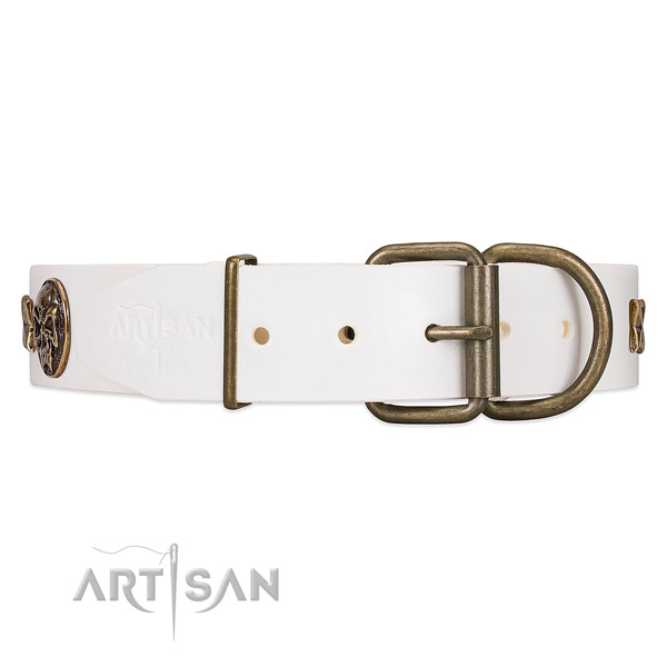 Handcrafted Leather Dog Collar with Riveted Strong Hardware