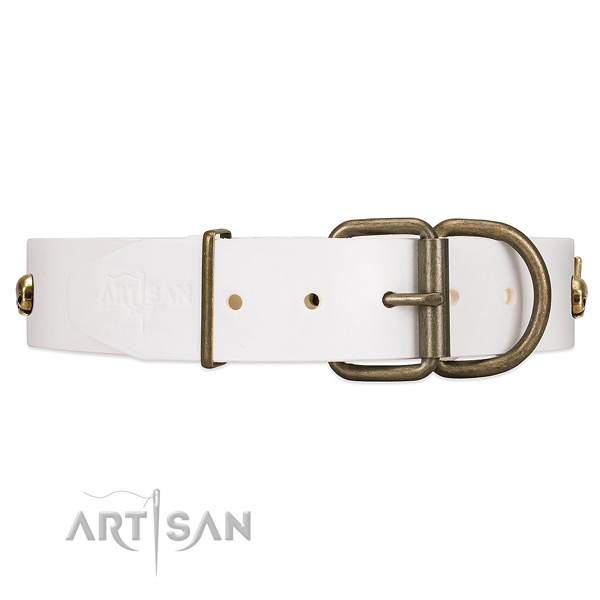 Handcrafted Leather Dog Collar with Strong Traditional Buckle