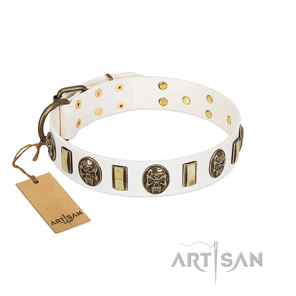 High-end White Leather Dog Collar with Plates and Medallions