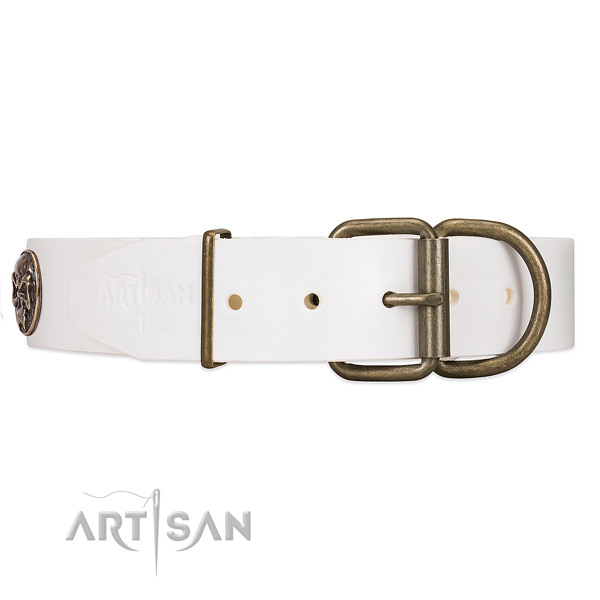 White Leather Dog Collar Equipped with Strong Hardware
