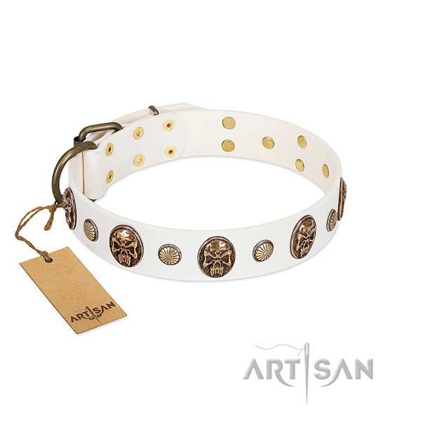 White Leather Dog Collar for Daily Control