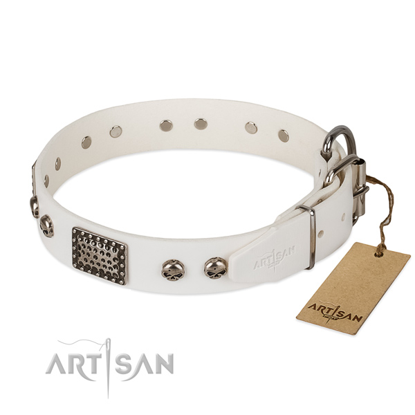 Handcrafted white leather dog collar with decorations