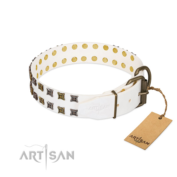 White Leather Dog collar with Sturdy Buckle and D-ring of Exceptional Quality