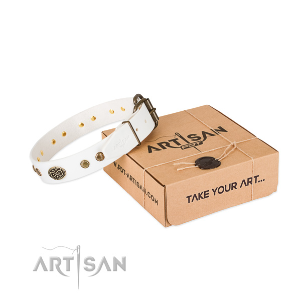White leather dog collar with decorations