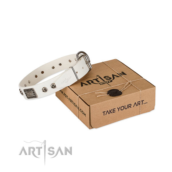 Attractive white leather dog collar