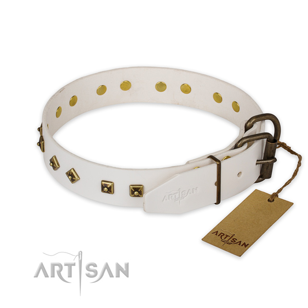 Sturdy white leather dog collar