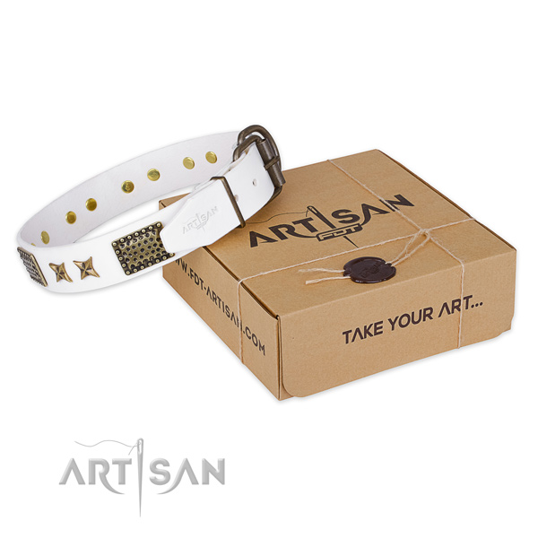 Lovely white leather dog collar