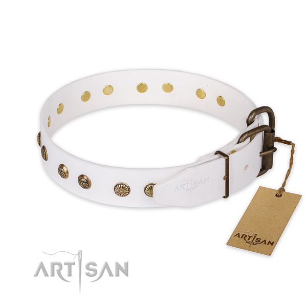 Reliable white leather dog collar