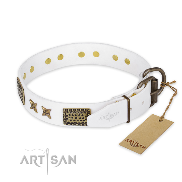 Handcrafted white leather dog collar with stars and plates