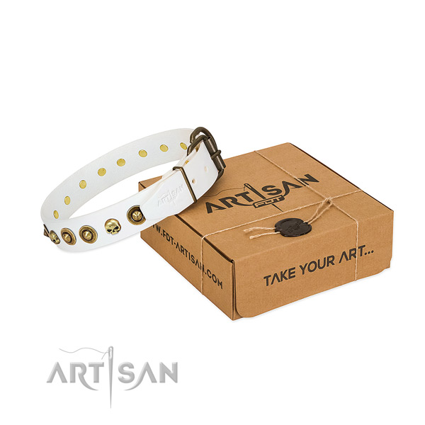 Handmade white leather dog collar adorned with exclusive