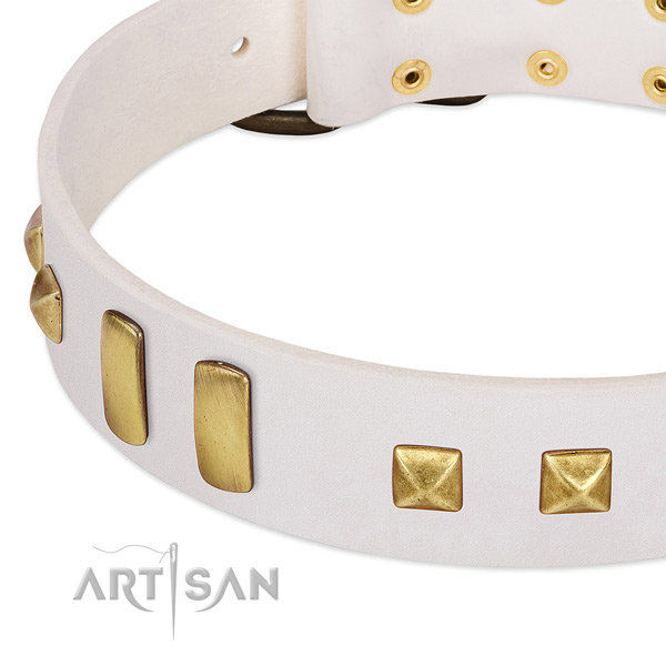 White Dog Collar with Old-bronze Plated Decorations