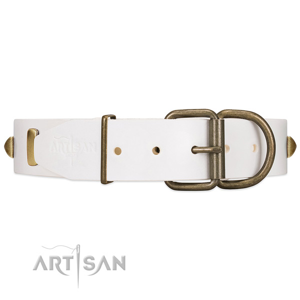 Reliable Hardware on White Leather Dog Collar