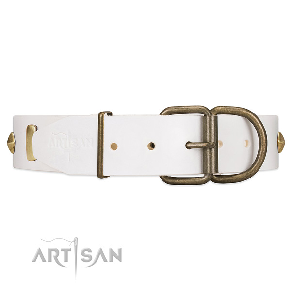 FDT Artisan White Leather Dog Collar with Reliable